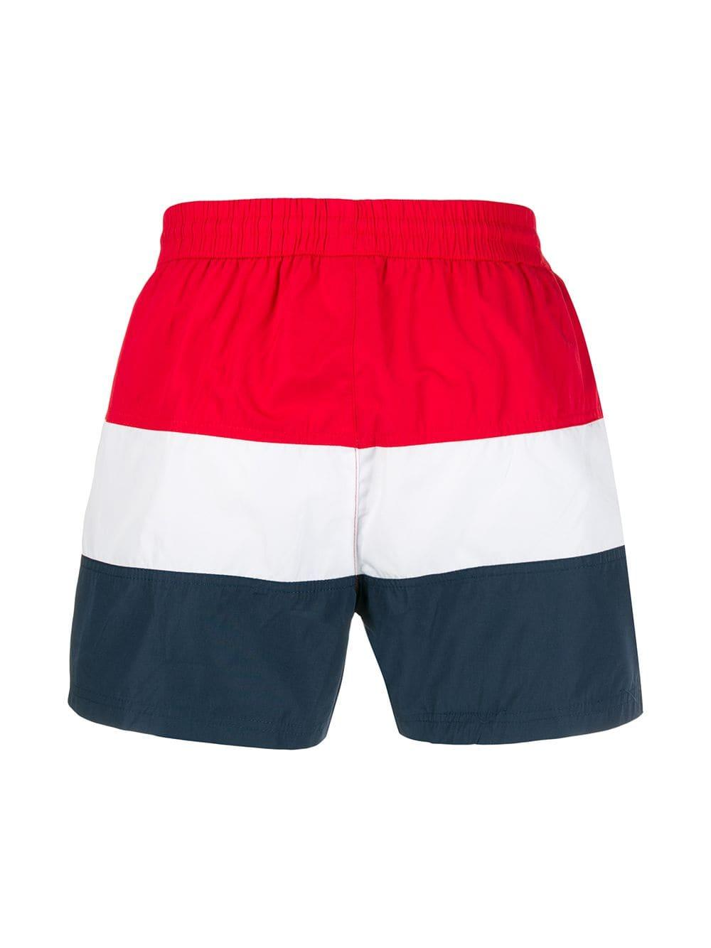 3d9d9d2b73601 Fila Striped Swim Shorts in Red for Men - Lyst