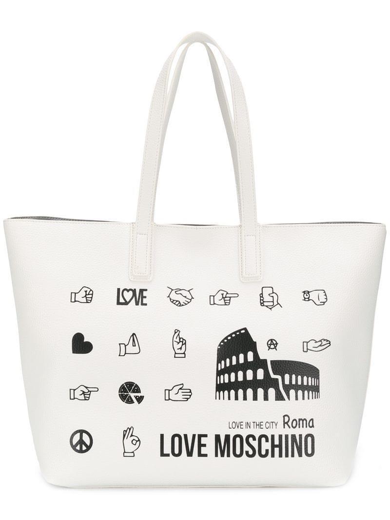 Coloris Logo Cabas Blanc À Lyst Imprimé Sac Love En Moschino PH4xn87