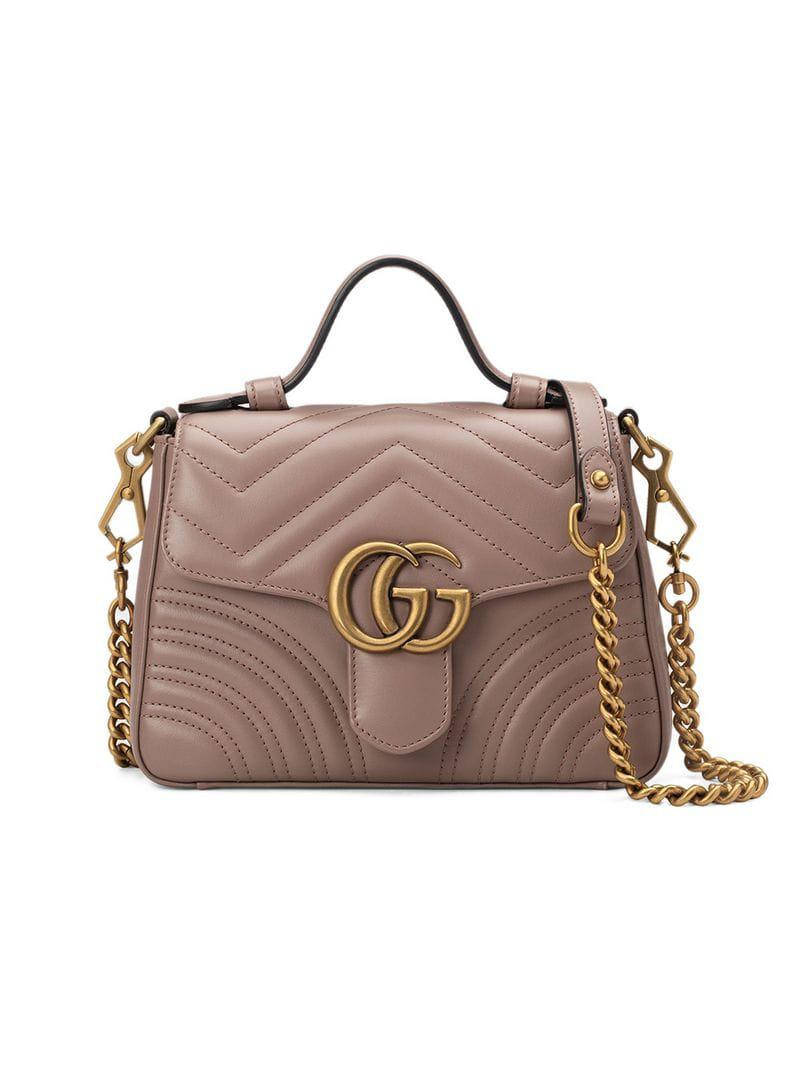 55e40dbeb6e Gucci GG Marmont Mini Top Handle Bag in Pink - Lyst