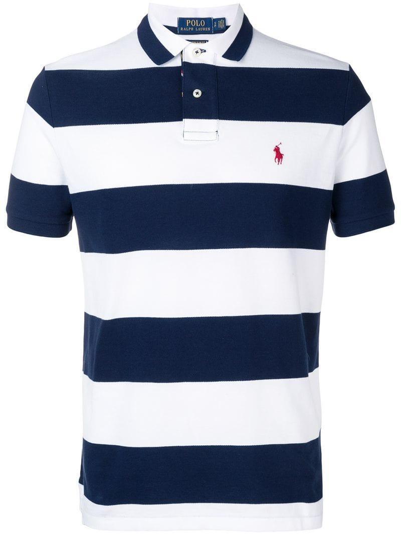 5785b0ba Polo Ralph Lauren Striped Logo Polo T-shirt in White for Men - Lyst