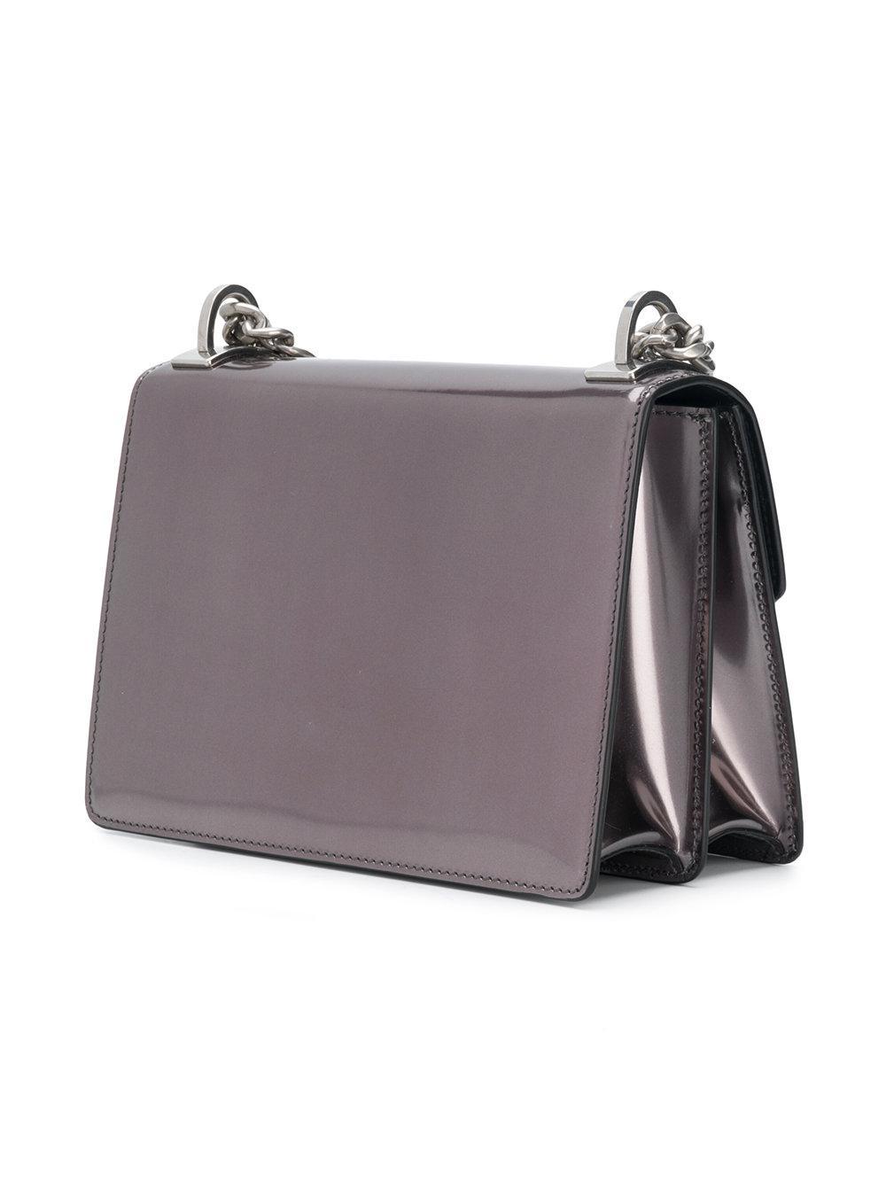 Prada Leather Logo Plaque Crossbody Bag in Metallic