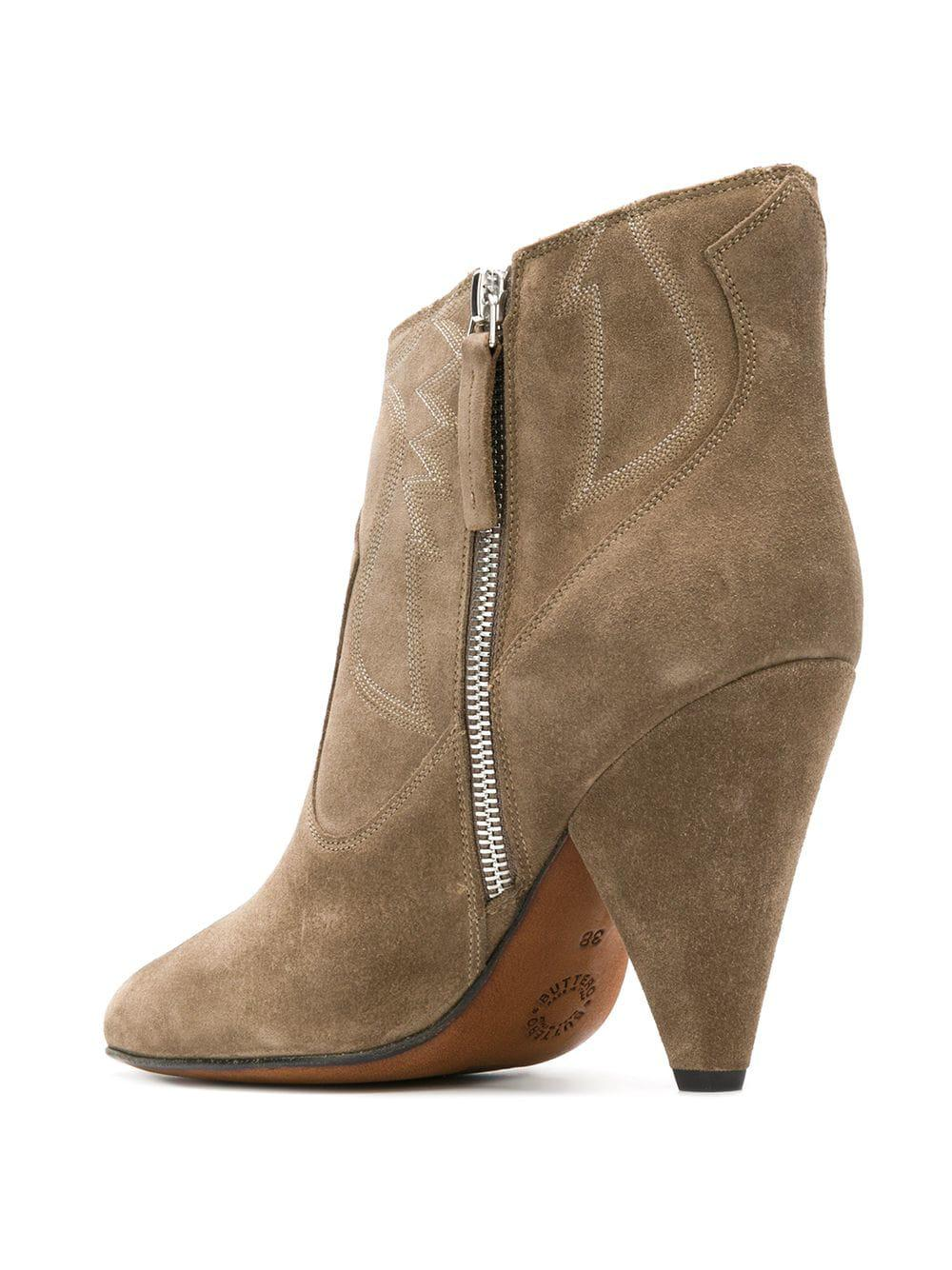 b8c322971edc Buttero Embroidered Sides Ankle Boots in Brown - Lyst