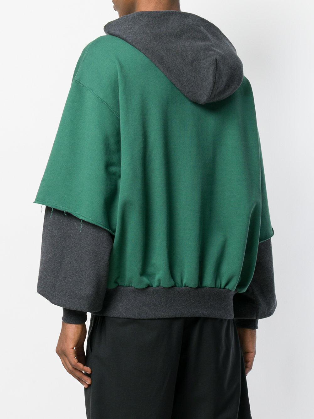 Gosha Rubchinskiy Cotton Combo Hooded Sweatshirt in Green