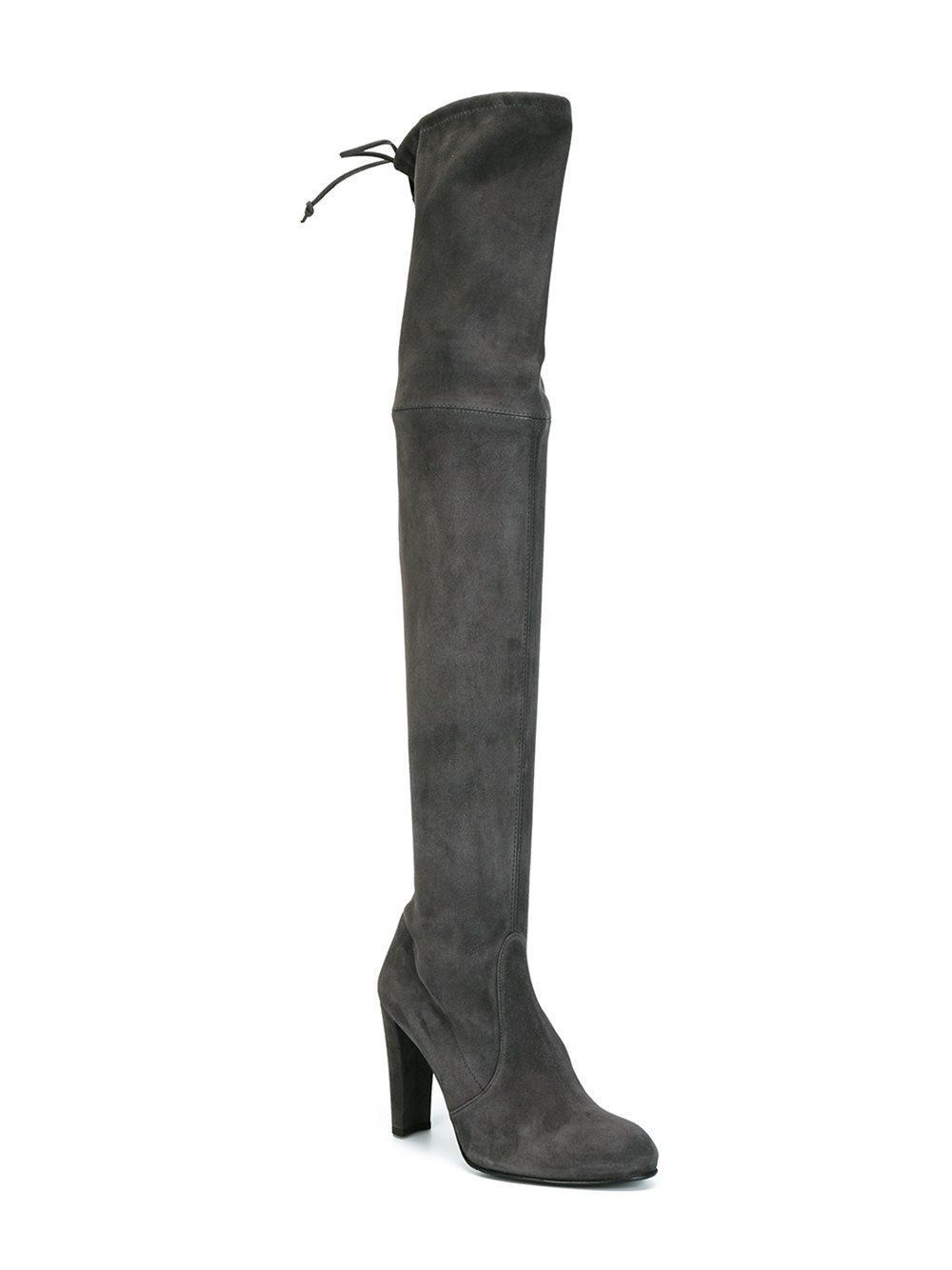 Stuart Weitzman Highland Suede Boot in Grey (Grey)
