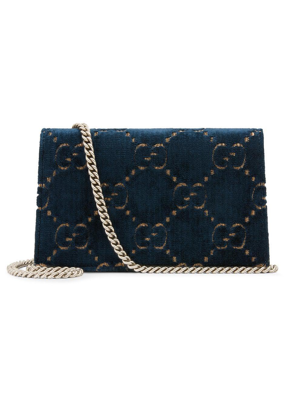 a83fc00e02e Gucci Dionysus GG Velvet Super Mini Bag in Blue - Save 30% - Lyst