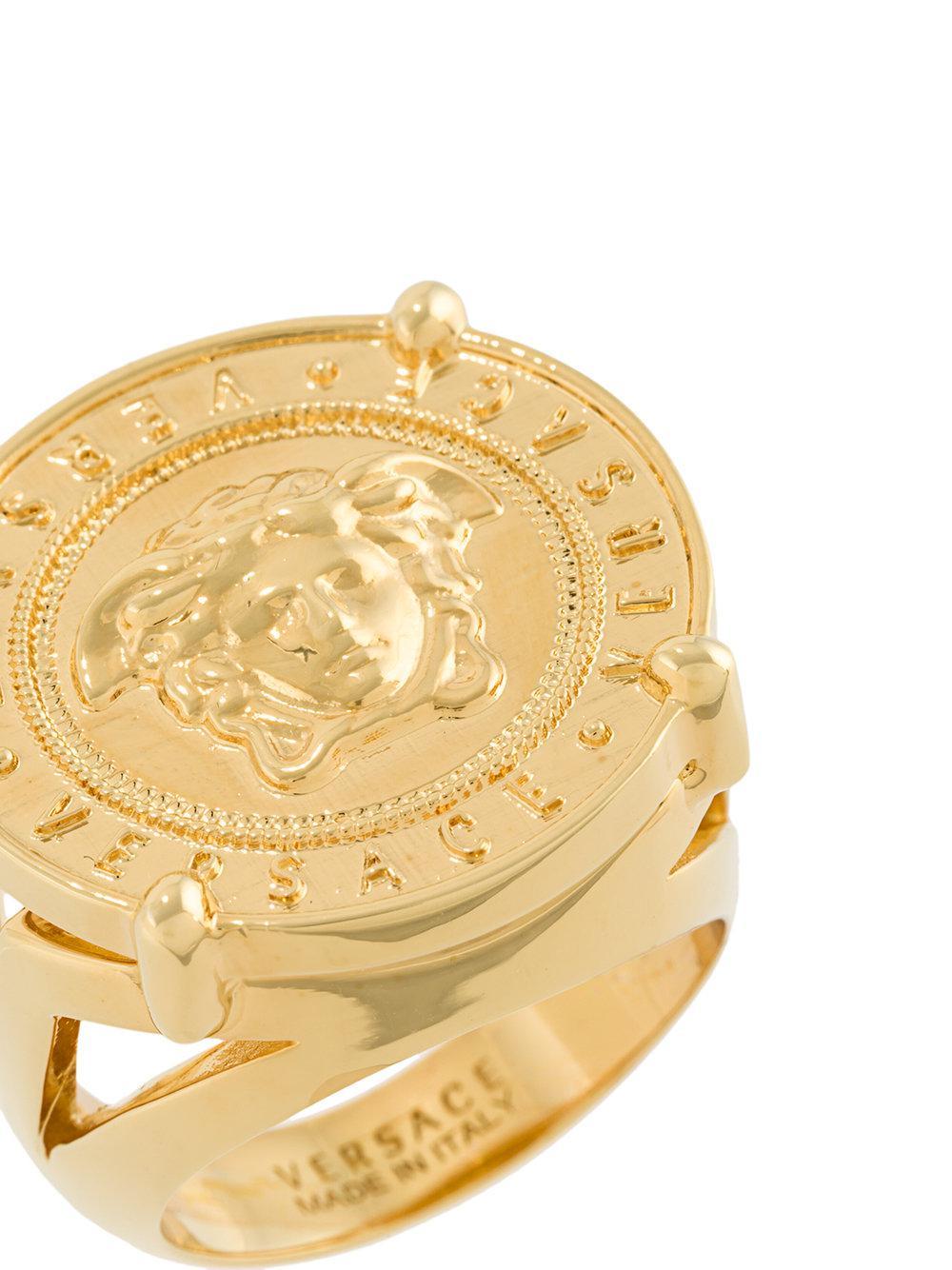 09e56f3687 Lyst - Versace Medusa Head Ring in Metallic for Men