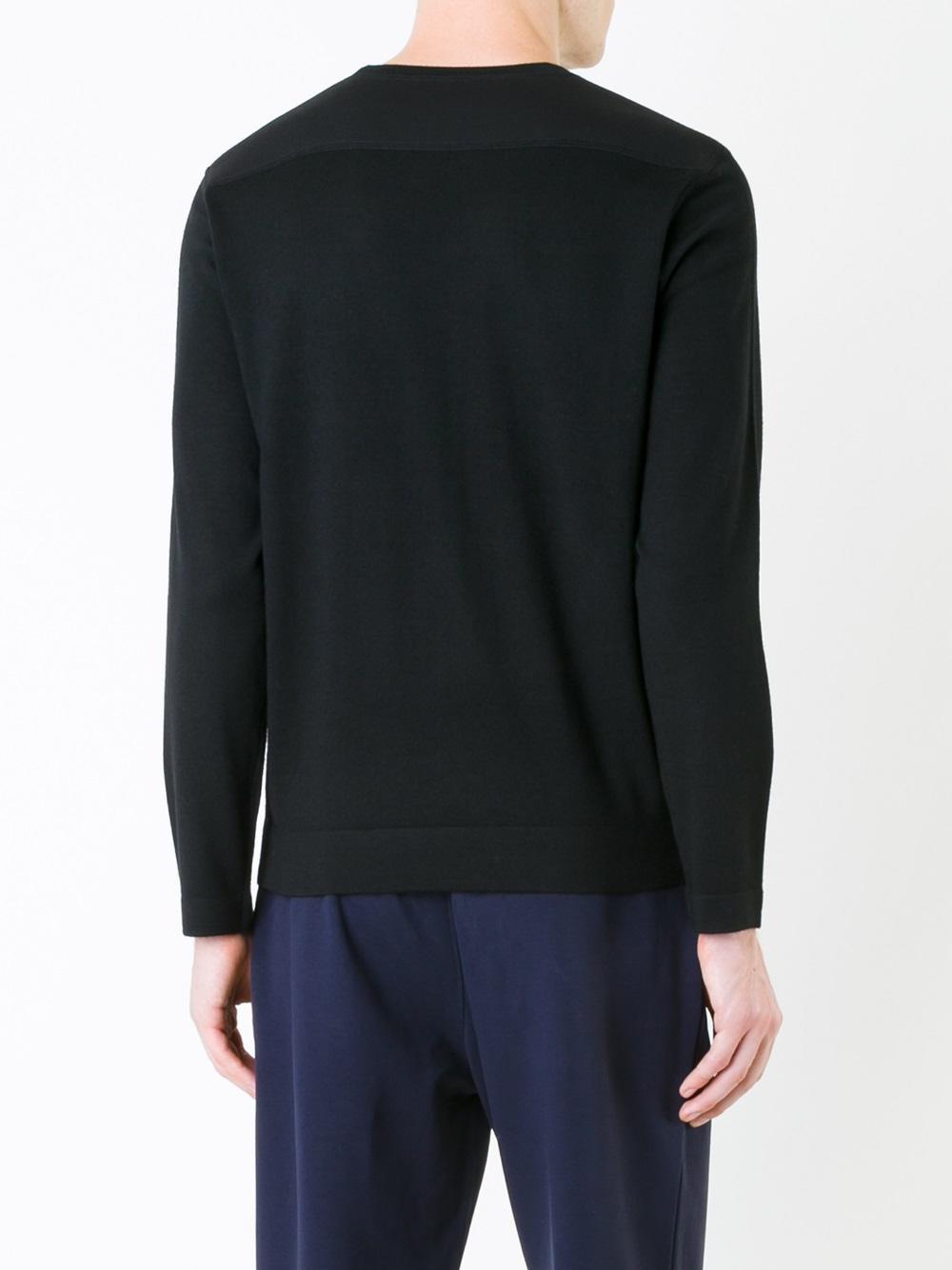 Kent & Curwen Synthetic Bonded Knit Shoulder Jumper in Black for Men