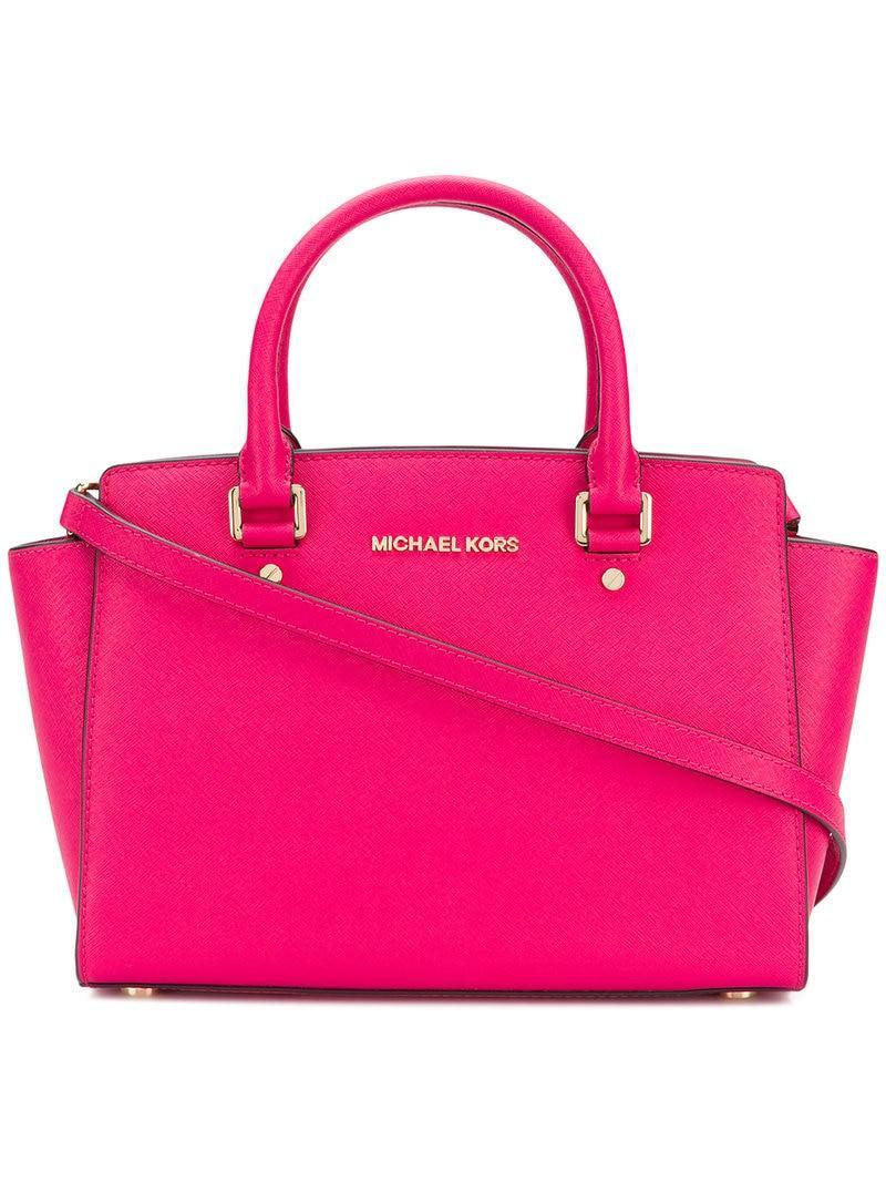 8e4c43bb3462 Lyst - MICHAEL Michael Kors Selma Saffiano Tote Bag in Pink