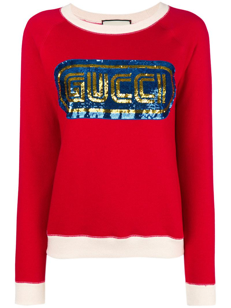 702899ff6ce Gucci Sequined Logo Sweatshirt in Red - Lyst