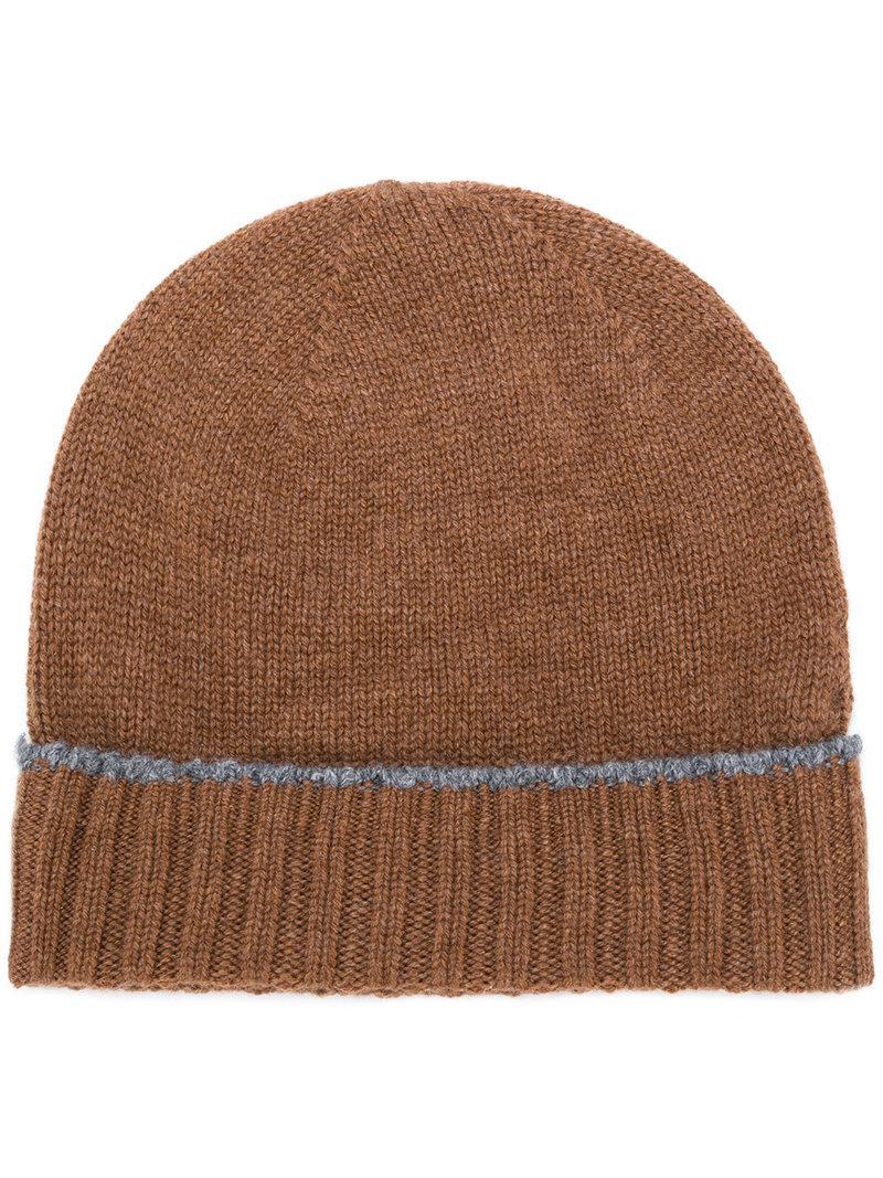 Bonnet En Cachemire Tricoté - Eleventy Brun lUaEs1OC