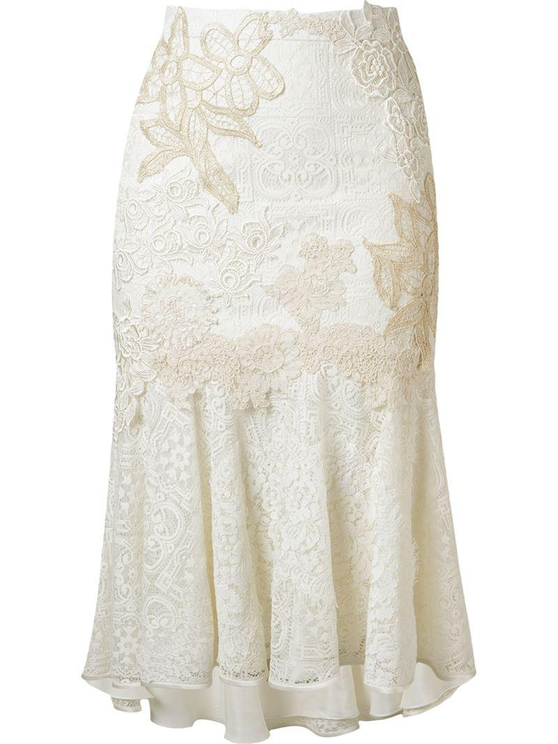 4bb6151c8 Martha Medeiros Embroidered Lace Mix Midi Skirt in White - Lyst