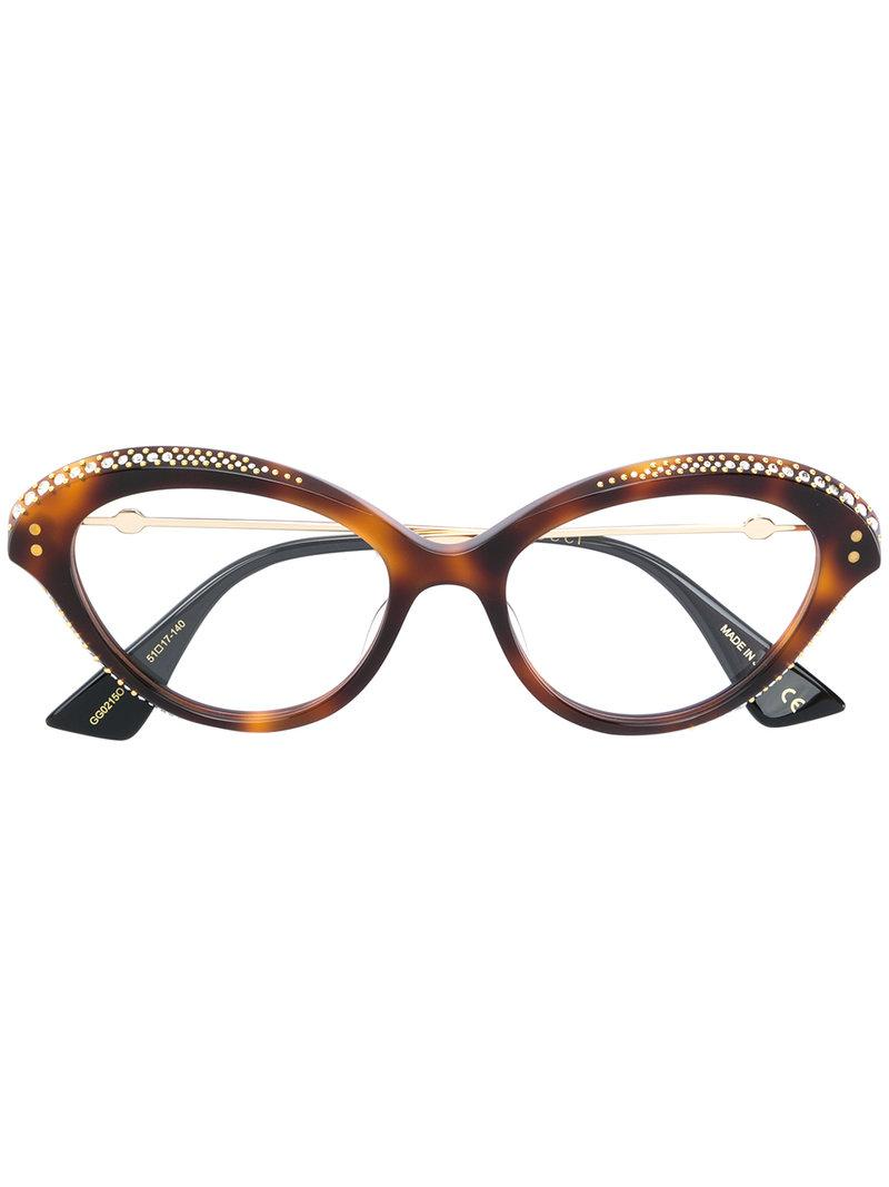 bd4a38ee6f9 Lyst - Gucci Cat Eye Glasses in Brown