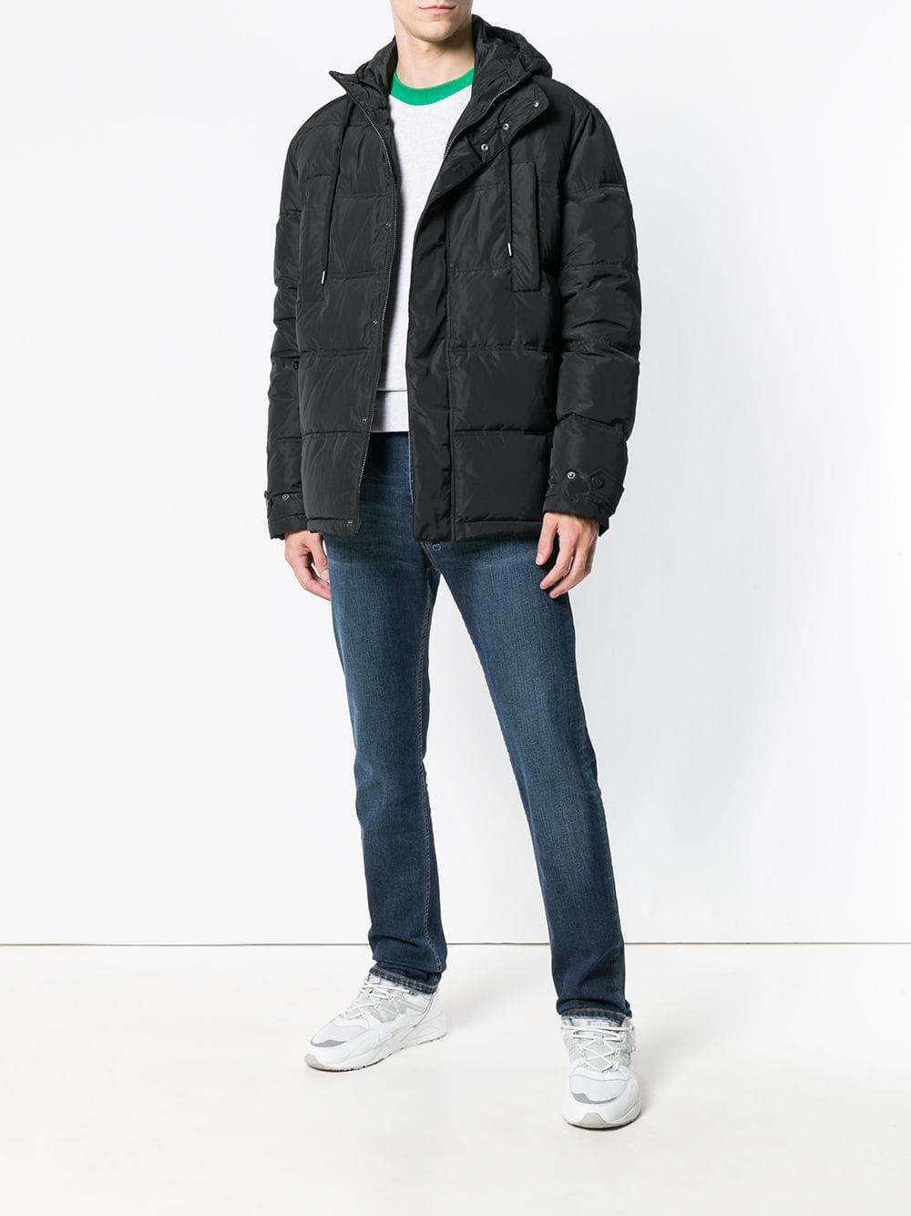 Versace Jeans Couture Denim Patch Embellished Padded Jacket in Black for Men