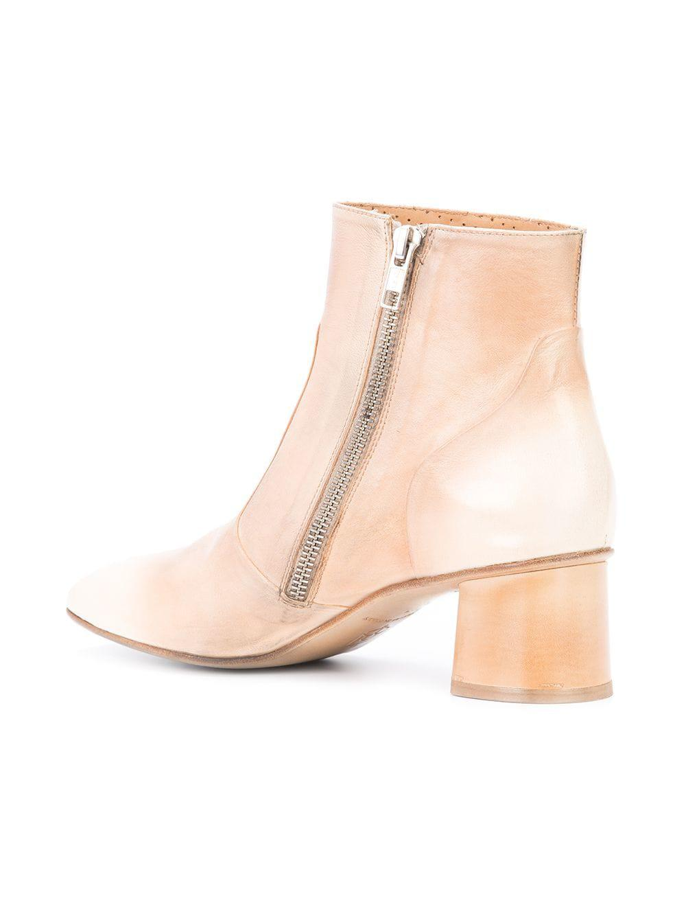 Silvano Sassetti Leather Round Toe Ankle Boots in Natural