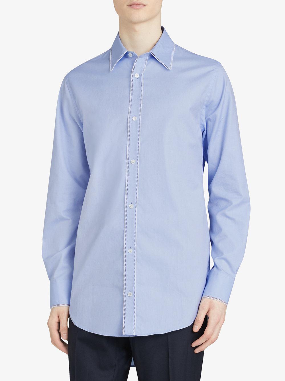 de bordado Burberry algodón azul con Camisa borde Oxford 5qHpxP