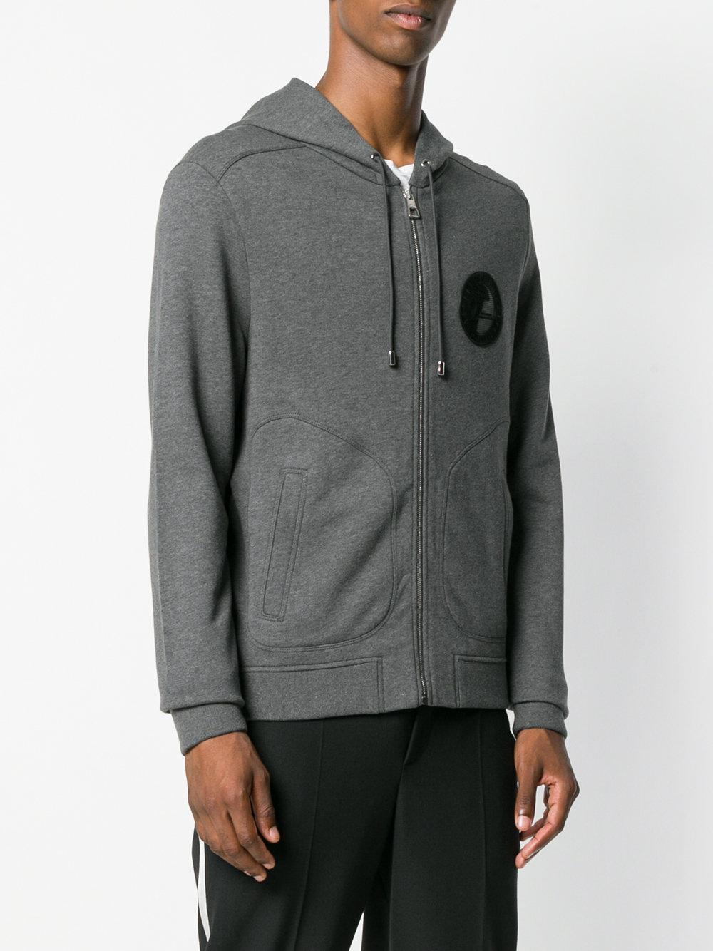 Versace Cotton Logo Print Zip Front Hoodie in Grey (Grey) for Men