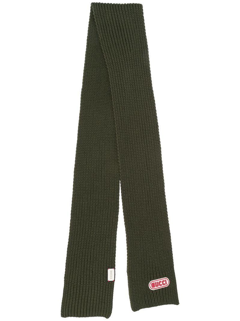 Lyst - Écharpe nervurée à plaque logo Gucci pour homme en coloris Vert e3bb8e394ba