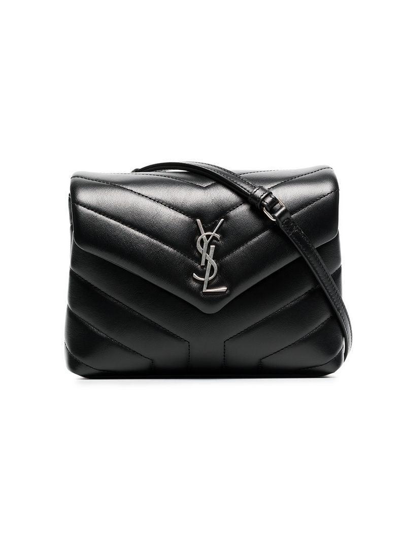 df09cf7ed605 Lyst - Saint Laurent Black Monogram Detail Quilted Leather Bag in ...