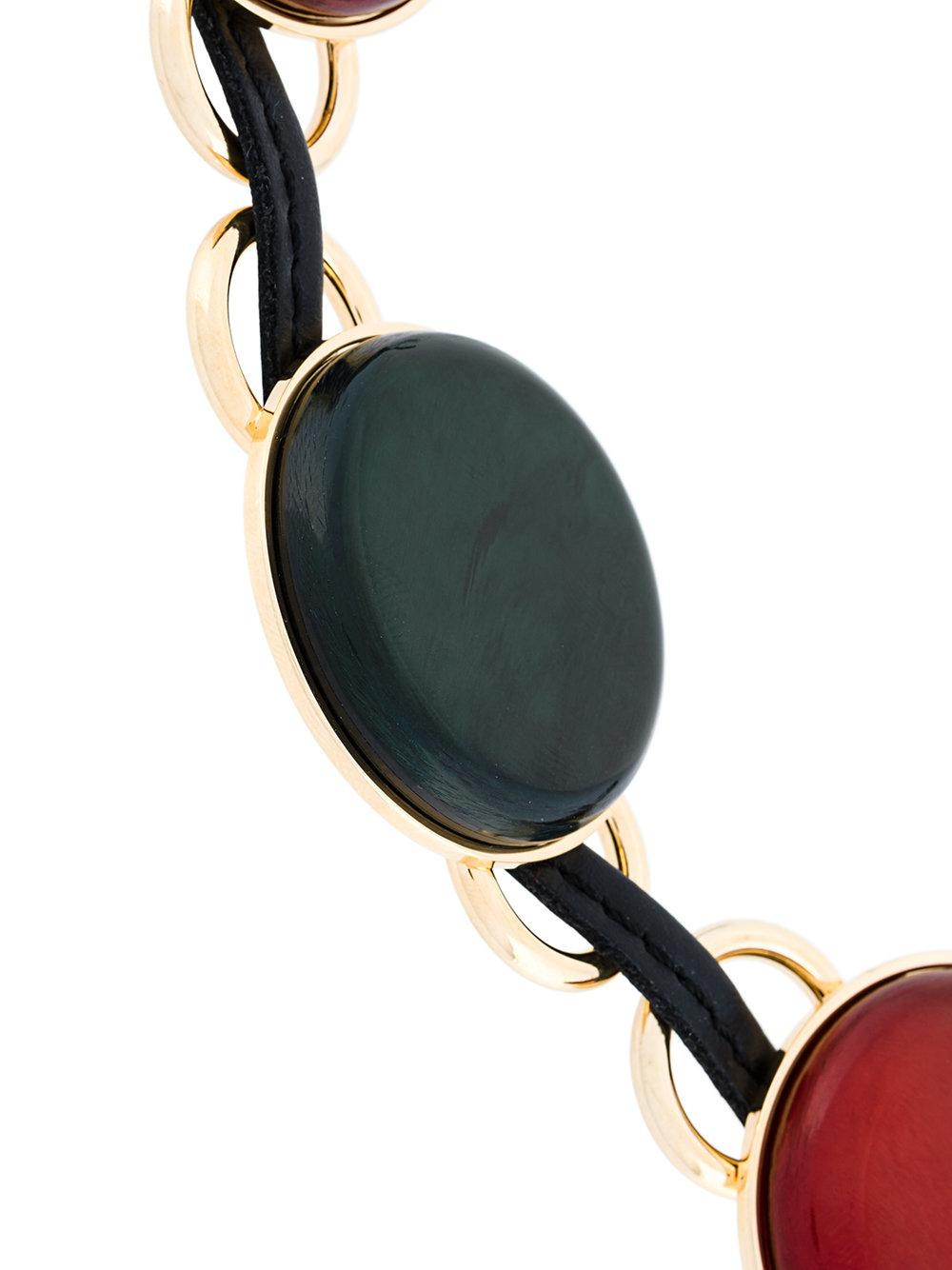 Marni Leather Disc Necklace in Black