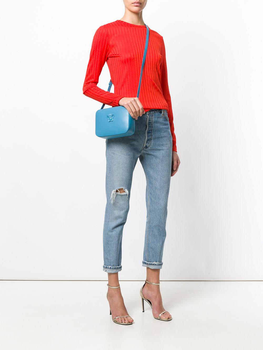Versace Leather Medusa Palazzo Cross-body Bag in Blue