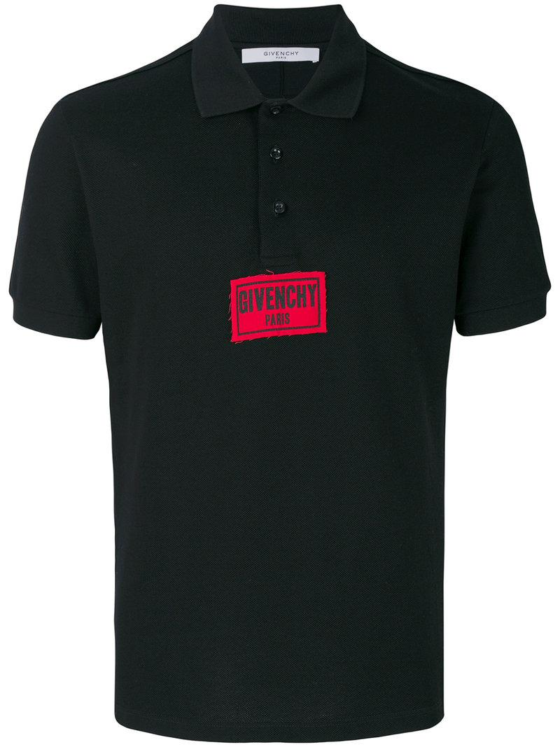 Lyst givenchy logo patch polo shirt in black for men for Polo shirt logo design