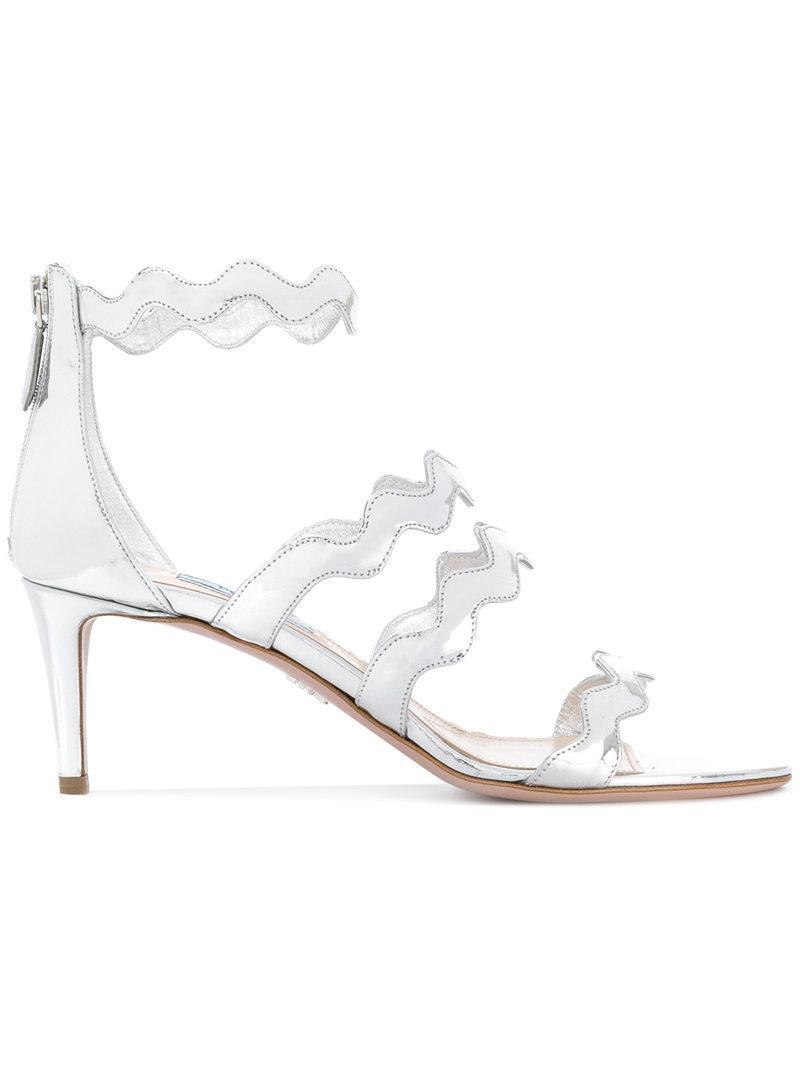 a4cf4718e98 Prada - Wavy Straps Metallic (grey) Sandals - Women - Leather - 40.5 ...