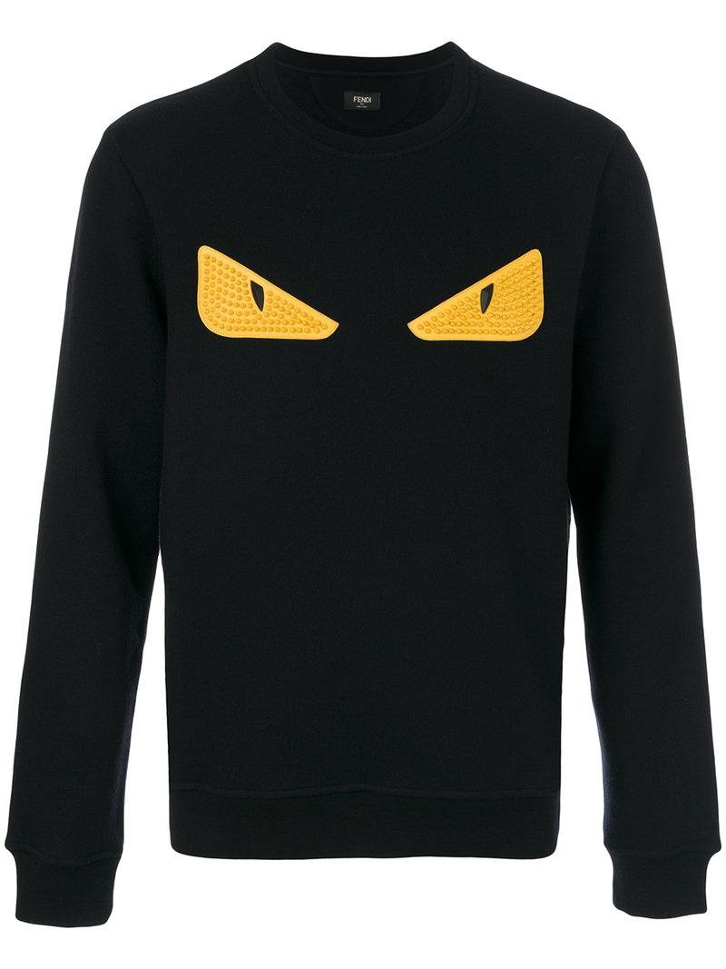 Fendi Monster Eyes Sweatshirt in Black for Men