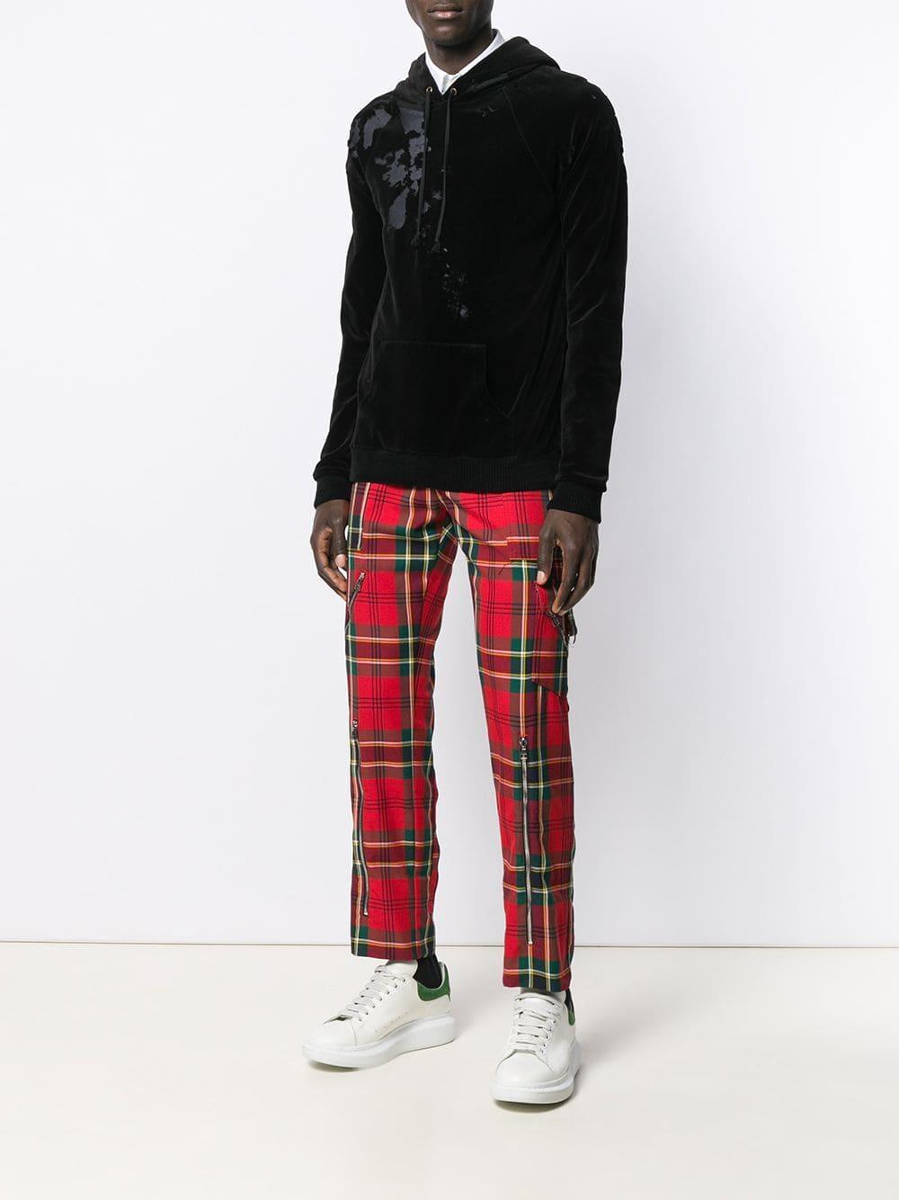 Alexander McQueen Plaid Straight-leg Trousers in het Rood voor heren
