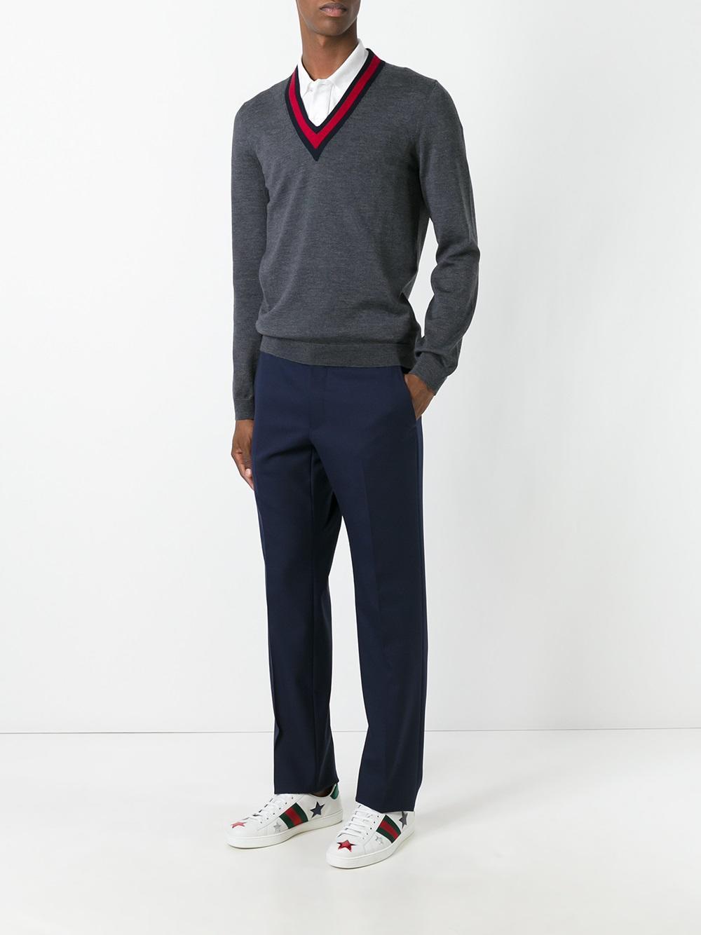 Gucci Wool Web Trim V Neck Jumper In Grey Gray For Men
