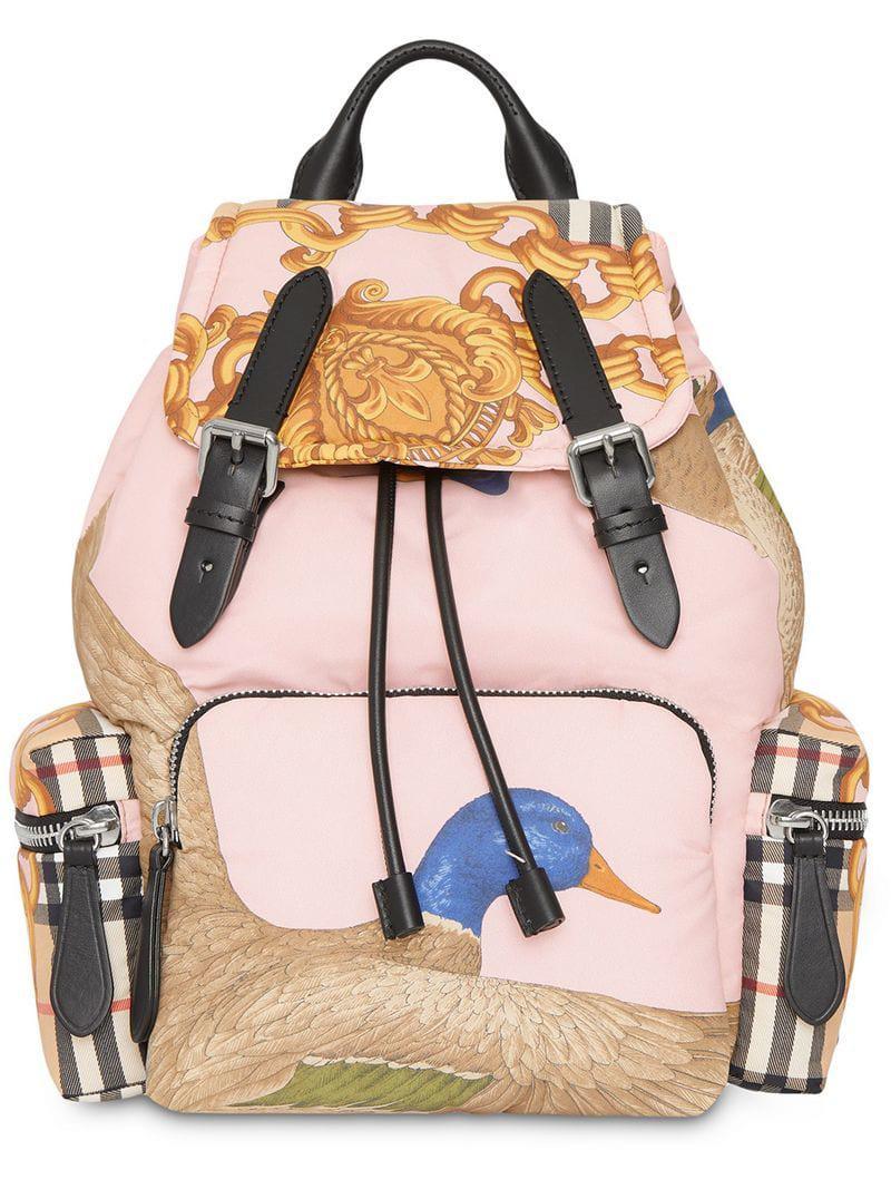Burberry The Medium Rucksack In Archive Scarf Print in Pink - Save ... da3efc7c4c33f