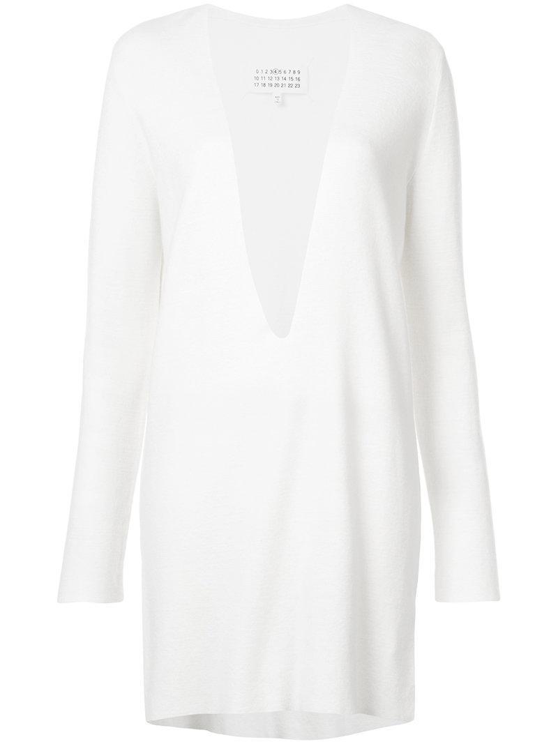 cuello V Maison Margiela ajustado con en profundo Vestido de xqEzTCwEI