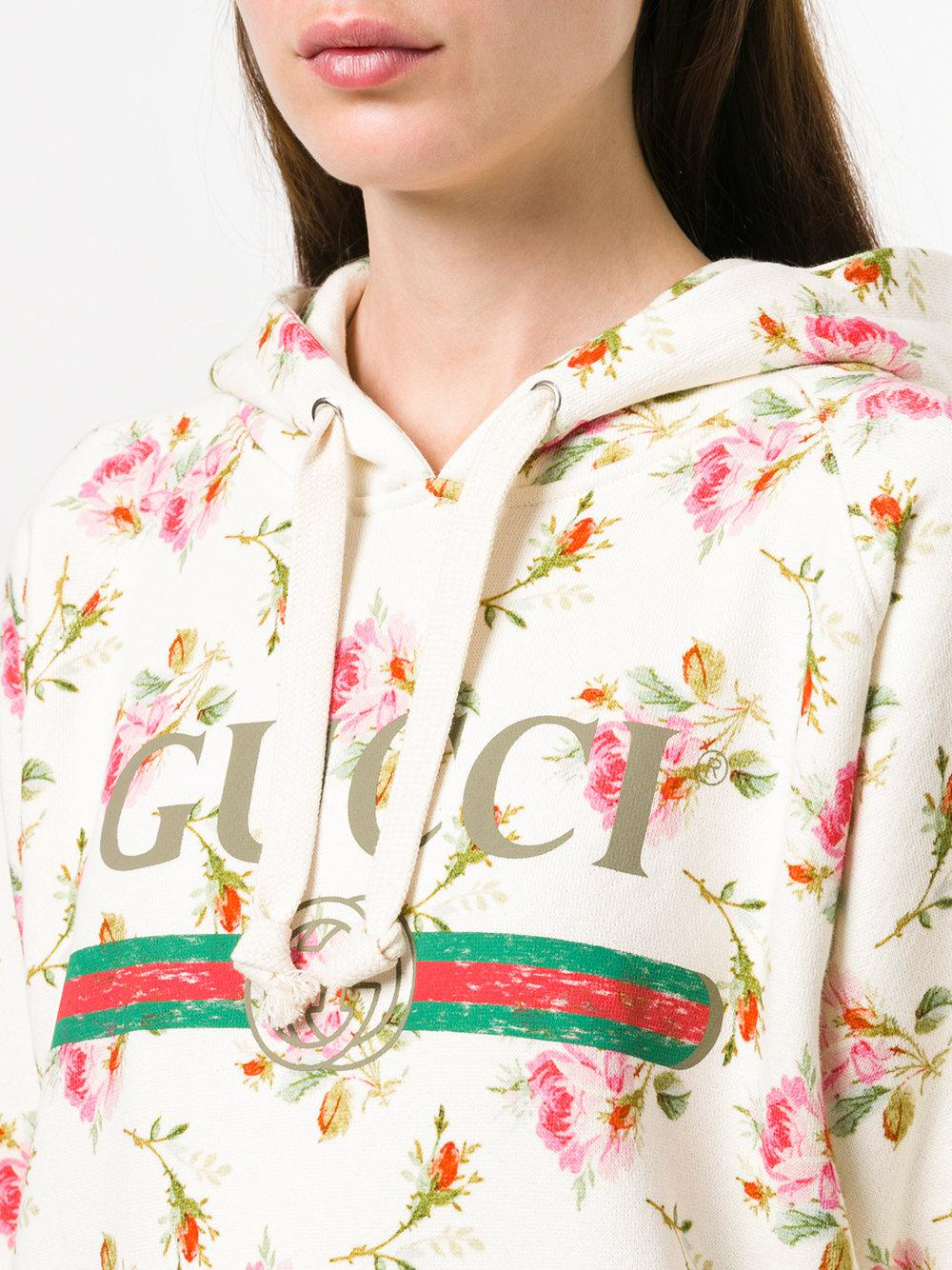 d1a9cc59 Gucci Multicolor Floral Logo Hooded Sweatshirt