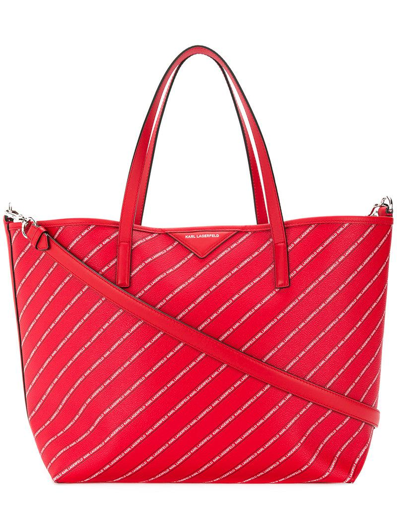 Discount Cheap Online striped logo shopper bag - Red Karl Lagerfeld Collections Cheap Price Cheap Sale How Much Under Sale Online QyUpPPhDX
