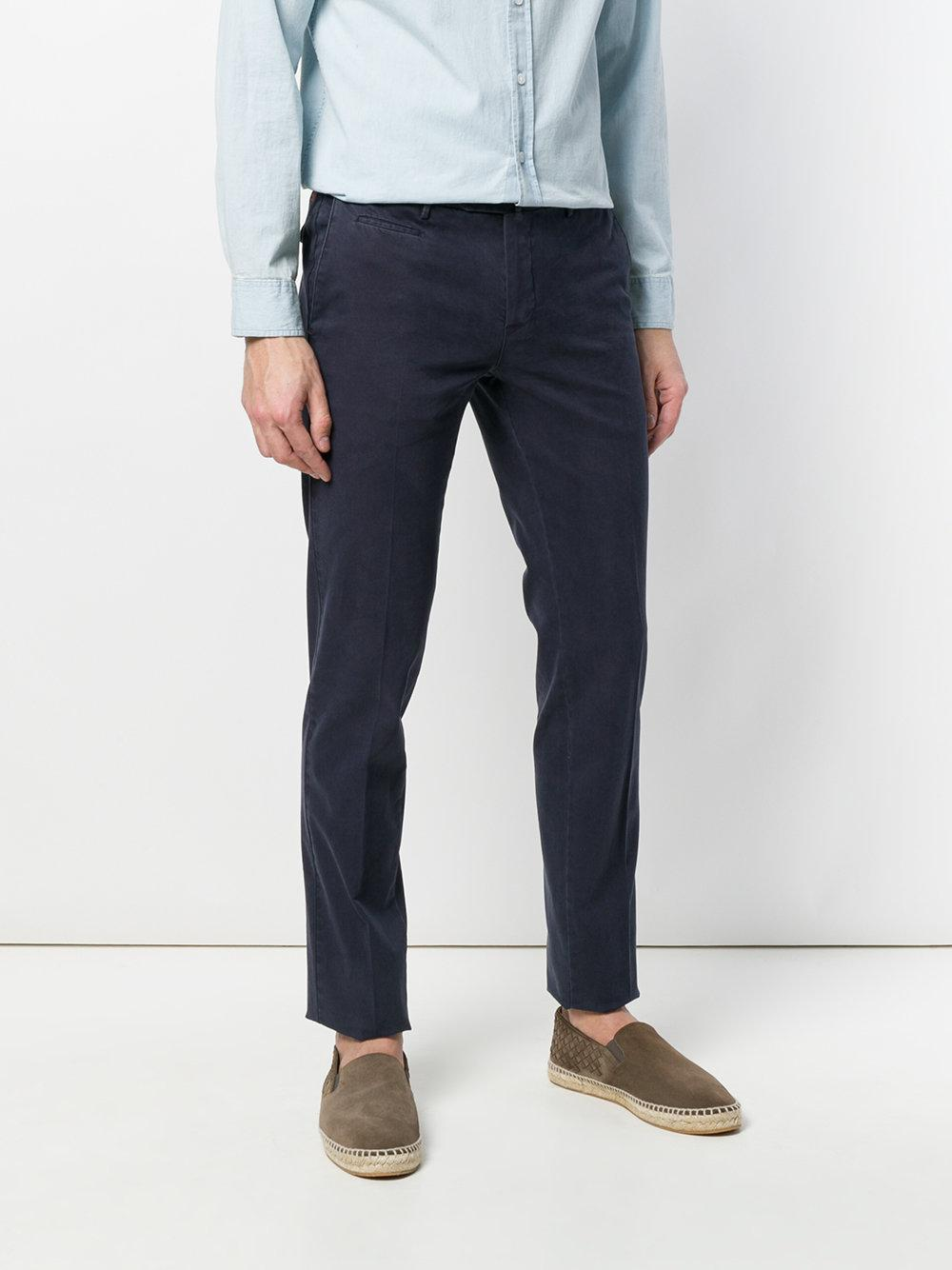 PT01 Cotton Casual Trousers in Blue for Men