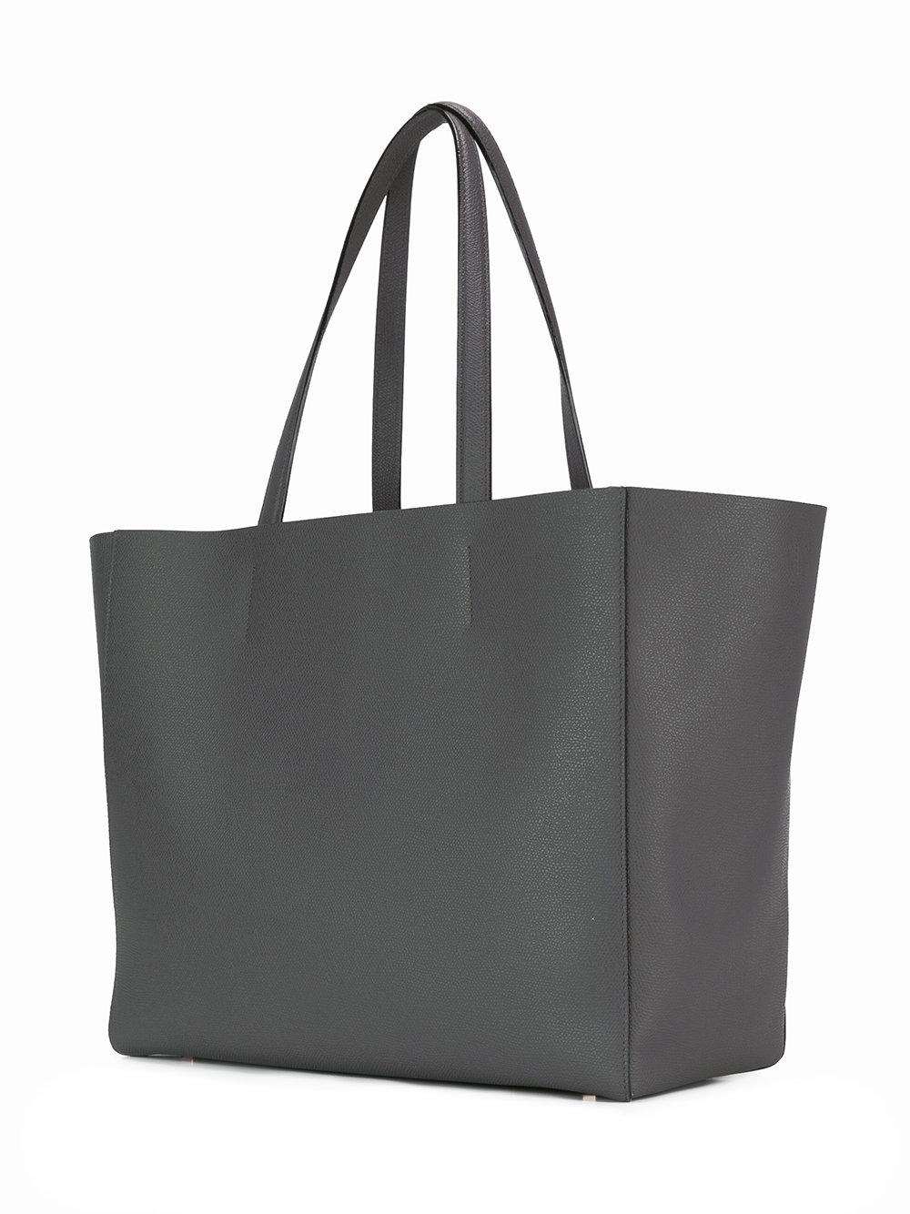 Valextra Leather Shopping Tote in Grey (Grey)