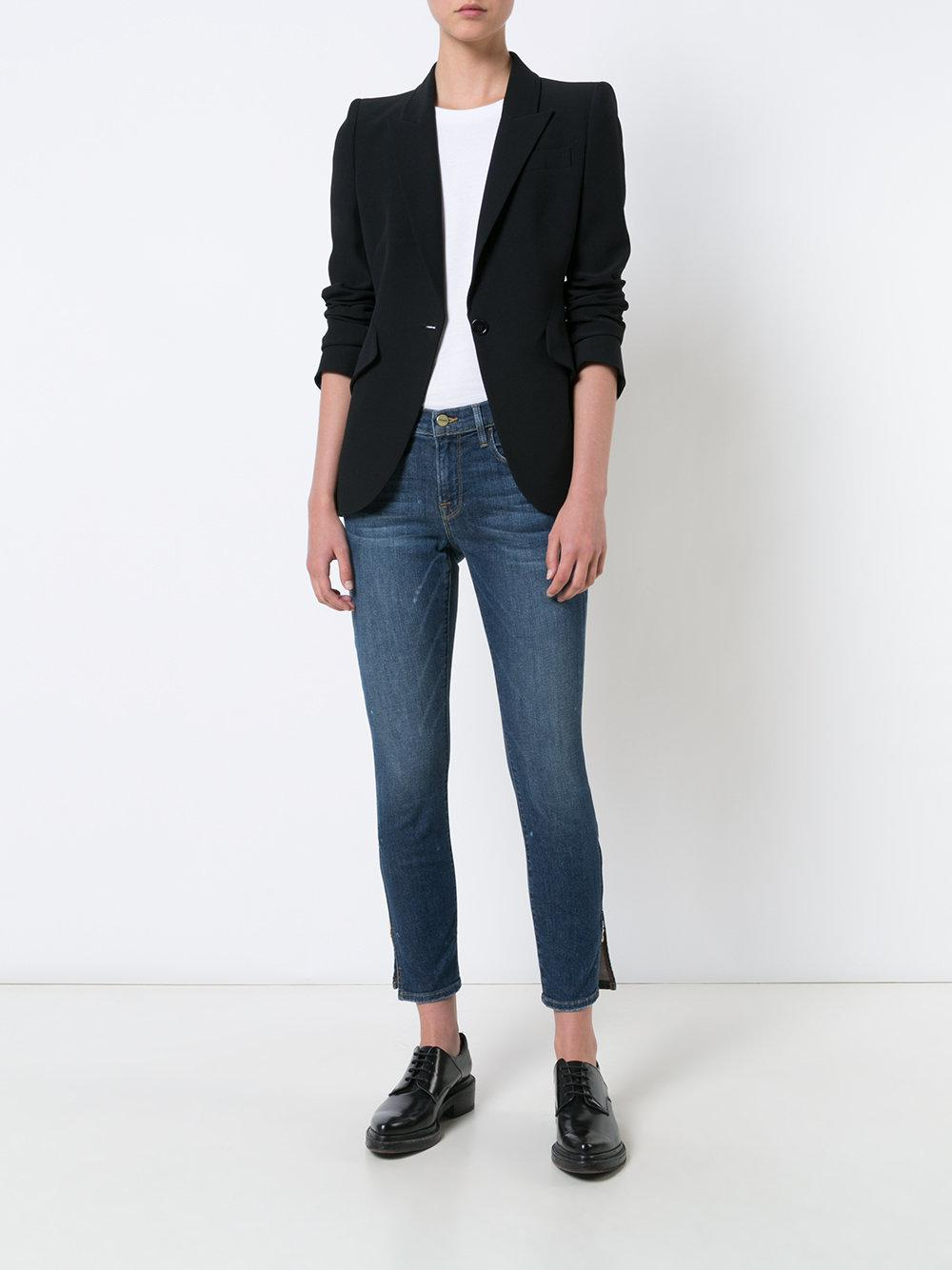 FRAME Denim Cropped Jeans With Slits in Blue