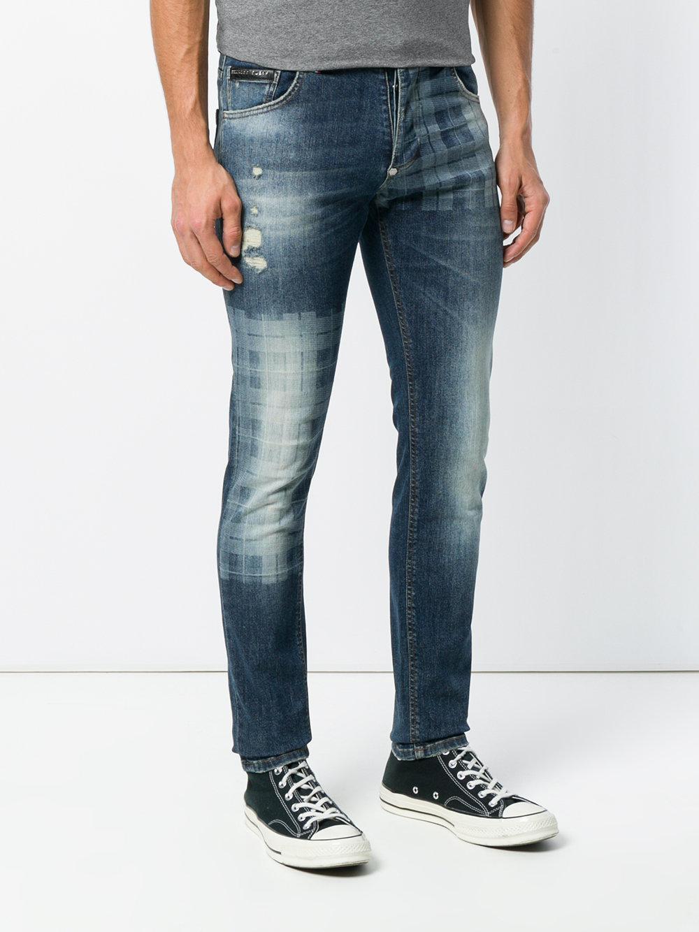 Philipp Plein Denim Faded Skinny Jeans in Blue for Men