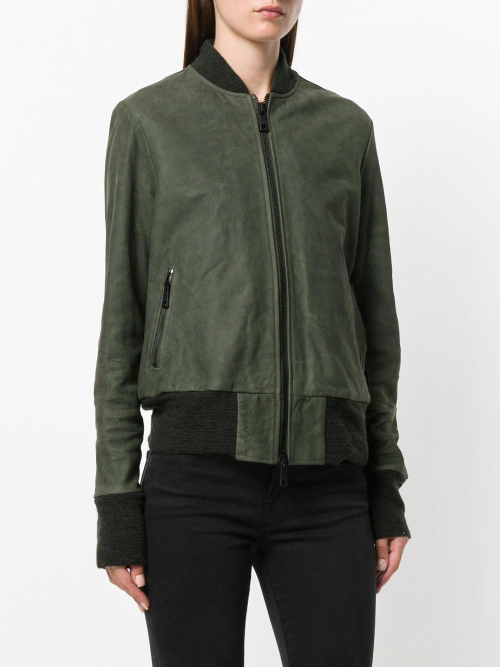 Giorgio Brato Leather Zipped Jacket in Green for Men