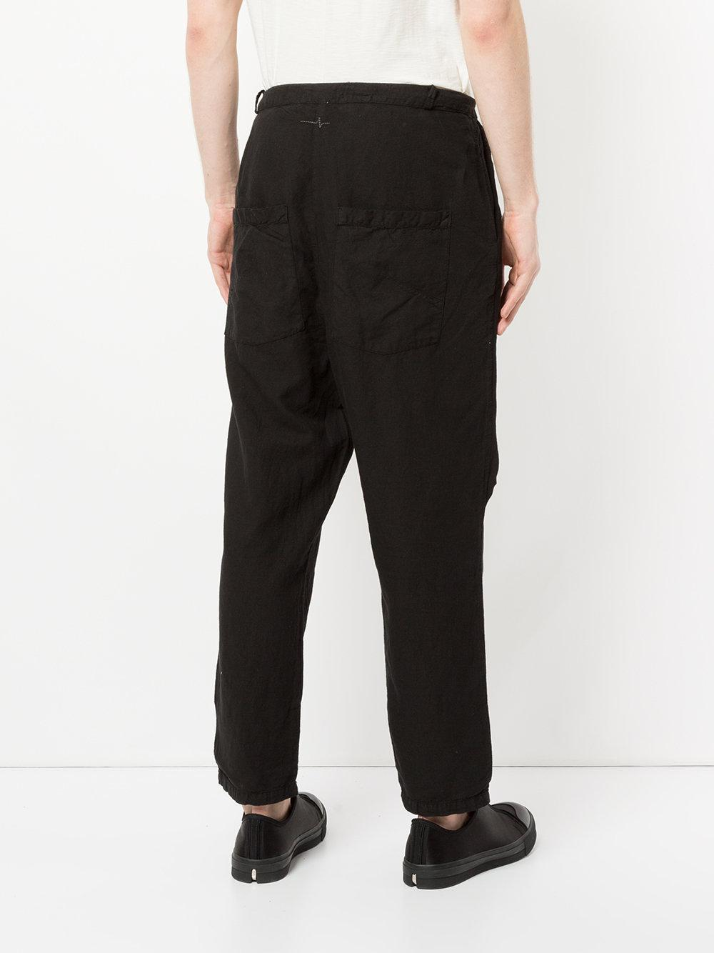 First Aid To The Injured Linen Aspasius Trousers in Black for Men