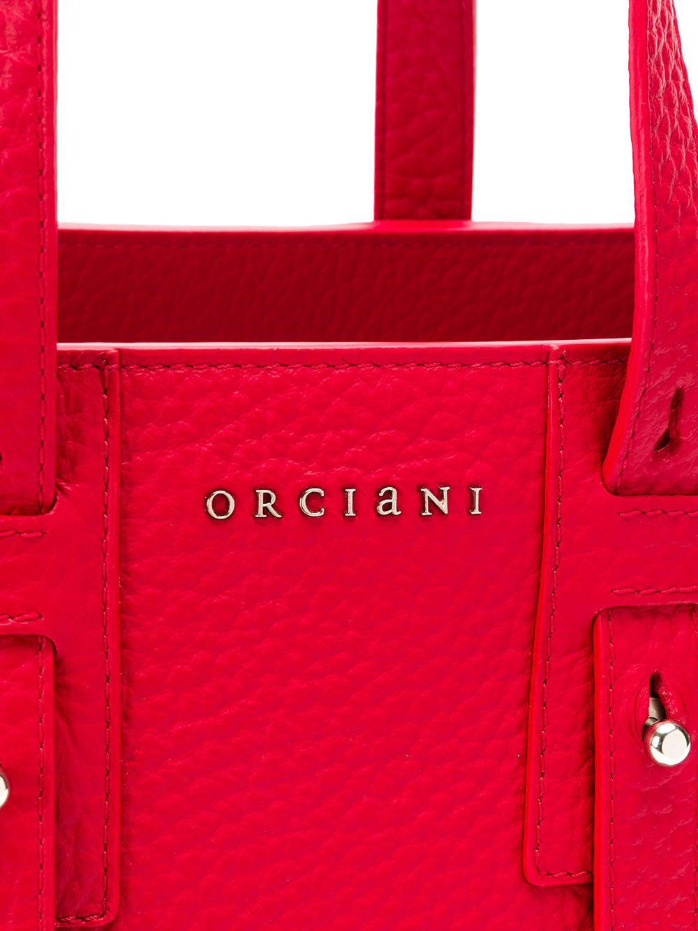Orciani Leather Top Handle Tote Bag in Red
