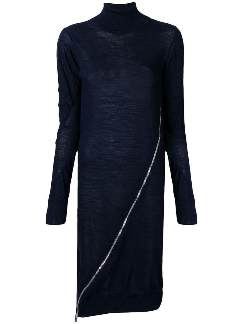 4c219a83332 Lyst - Sacai Zip-detail Sweater Dress in Blue