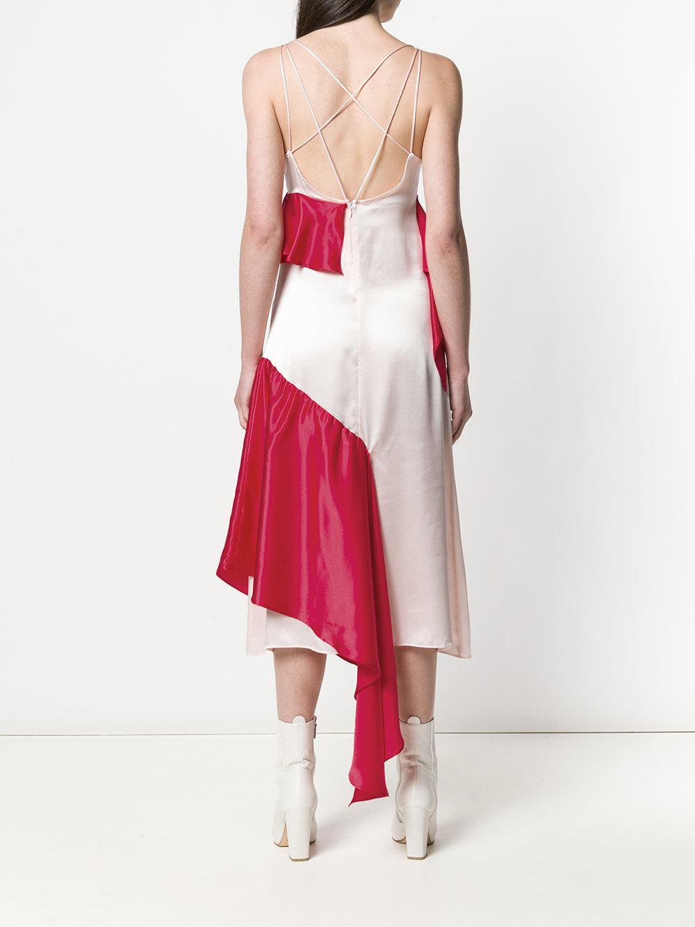 Vestido asimétrico con volantes Each x Other de Seda de color Rojo