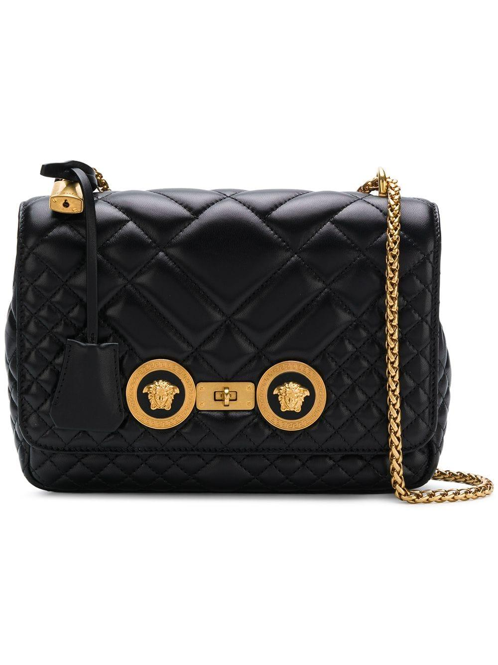 dbbf9bcb Versace Quilted Shoulder Bag in Black - Save 38% - Lyst