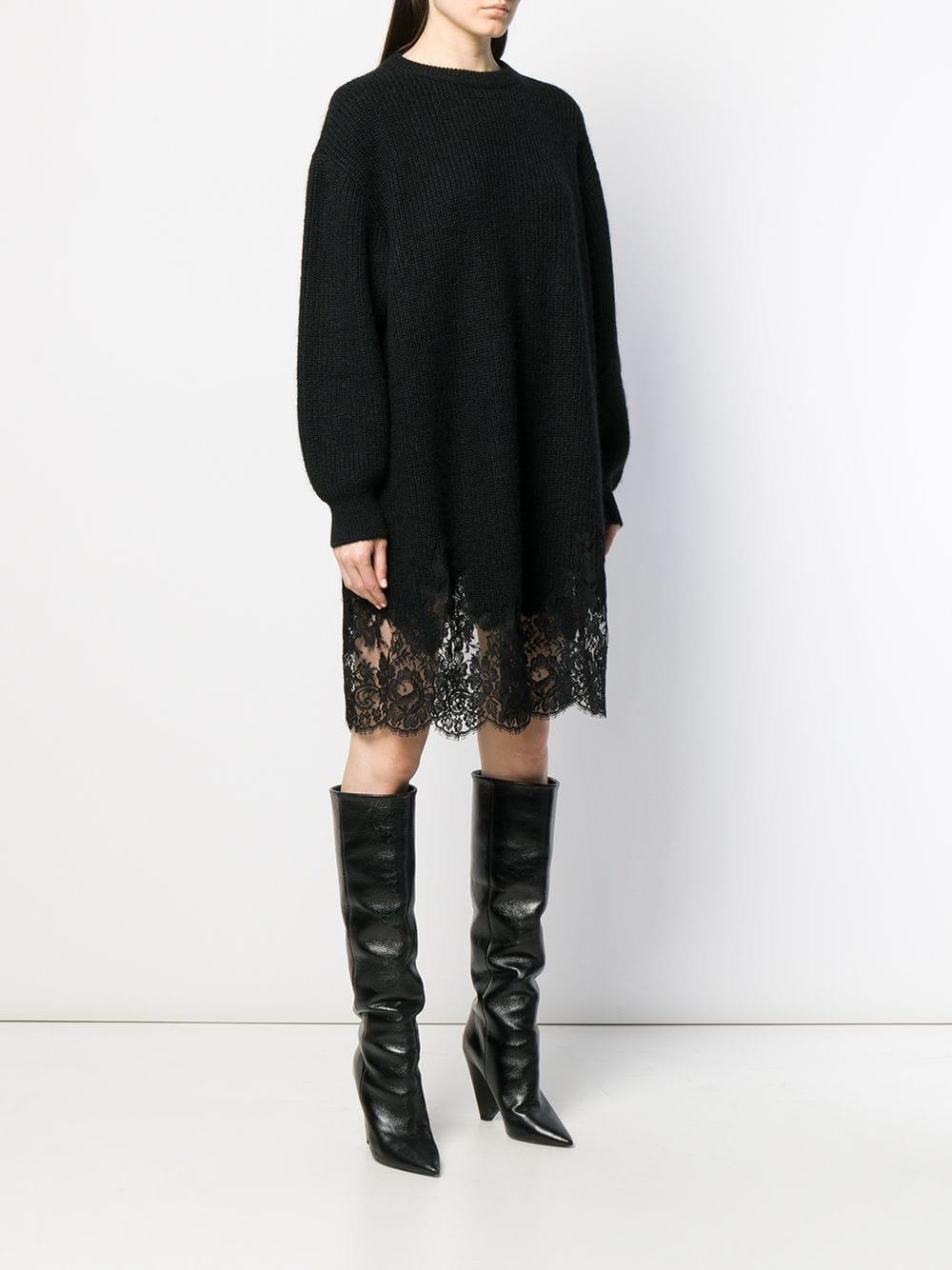 Robe en maille à ourlet en dentelle Dentelle Givenchy en coloris Noir