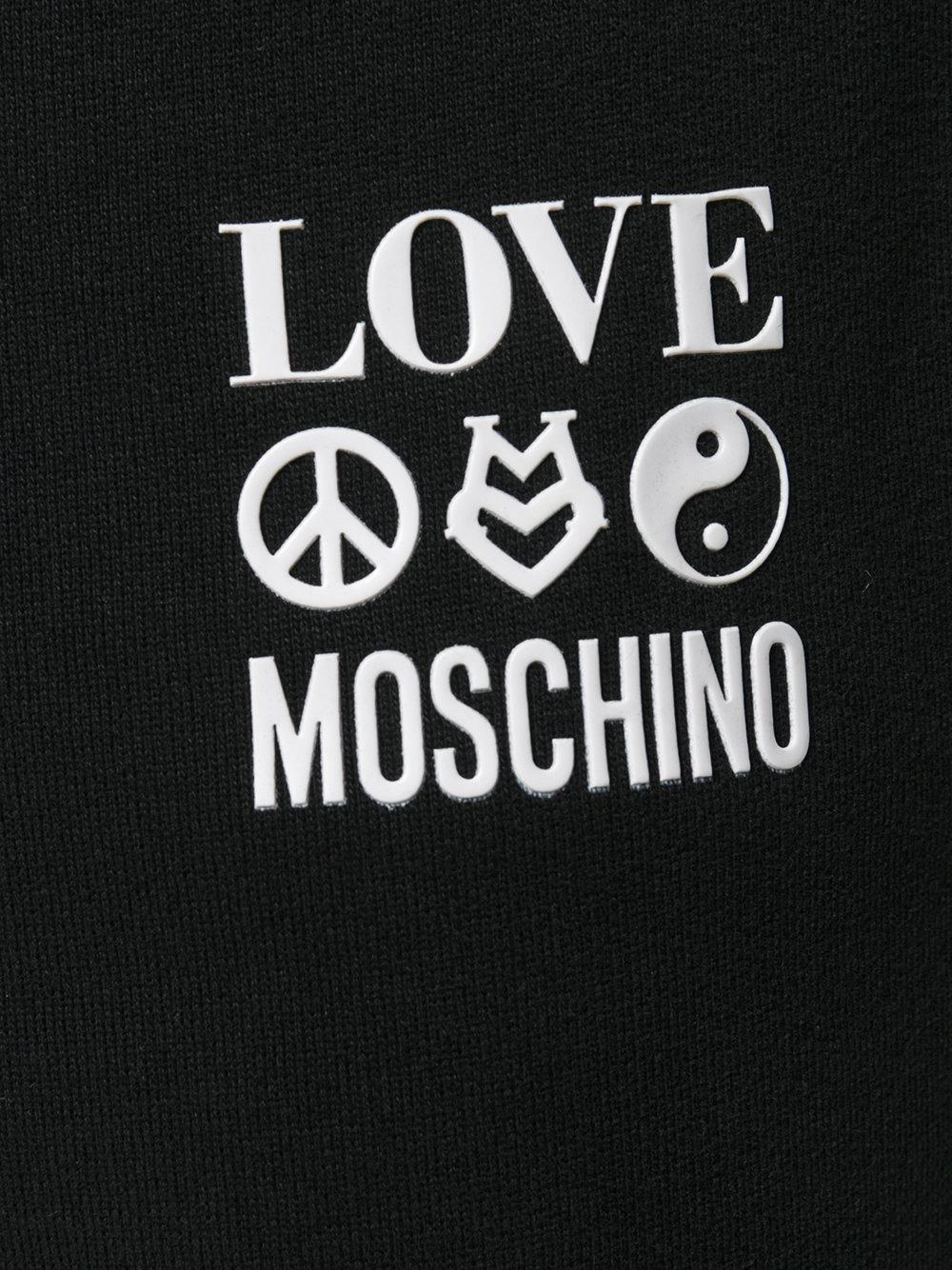 Love Moschino Cotton Branded Draw-string Track Pants in Black for Men