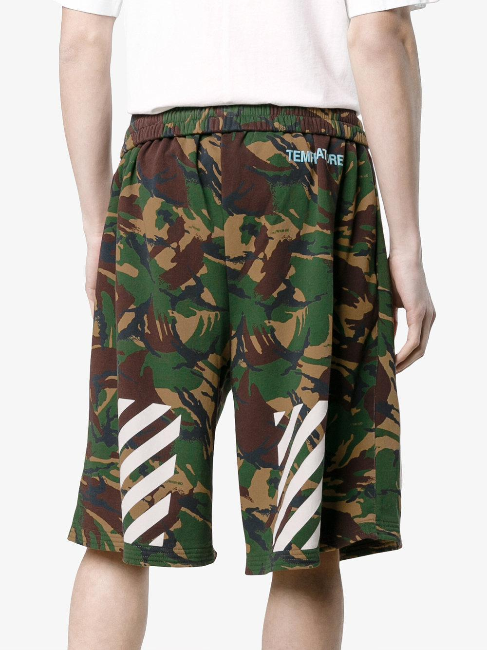 e342d447 Off-White c/o Virgil Abloh Camouflage Diagonal Print Shorts in Green ...