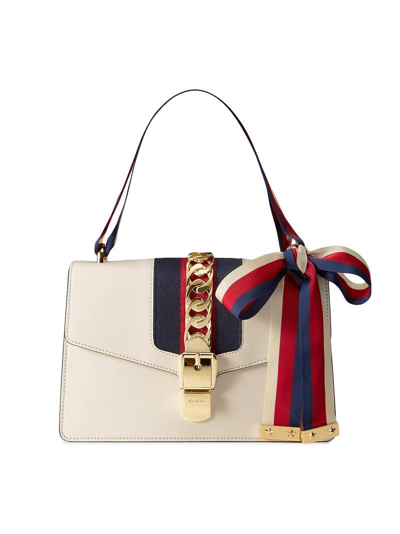 e61b6d65b592ea Gucci Sylvie Leather Shoulder Bag in White - Save 5% - Lyst