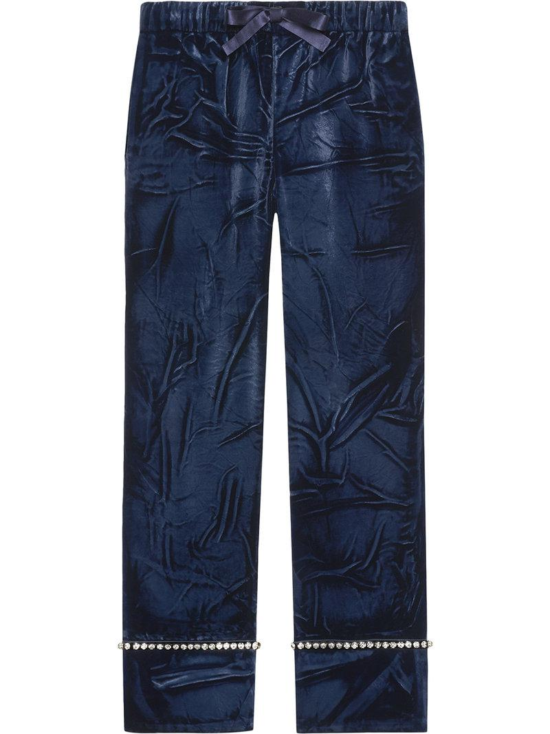 1225582f Gucci Velvet Pajama Pants in Blue - Save 6% - Lyst