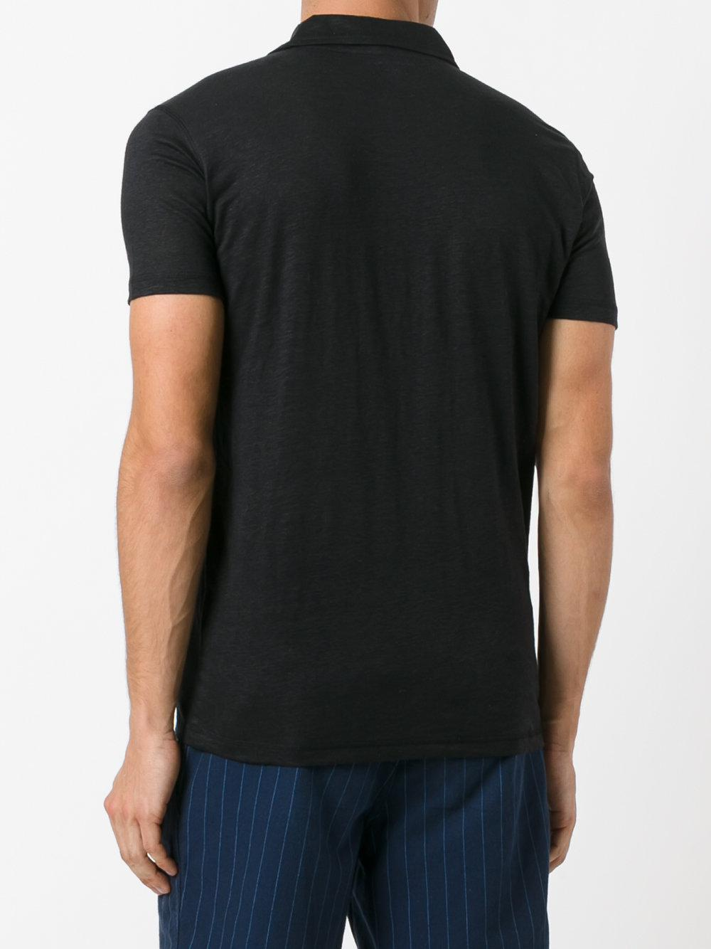 Majestic Filatures Linen Classic Polo Shirt in Black for Men