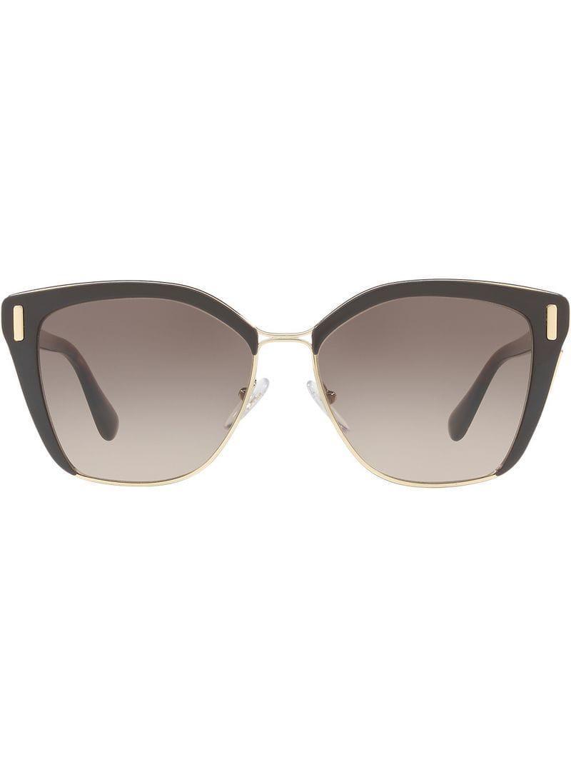 9d464f391eaf Prada Cat Eye Shaped Sunglasses in Brown - Lyst